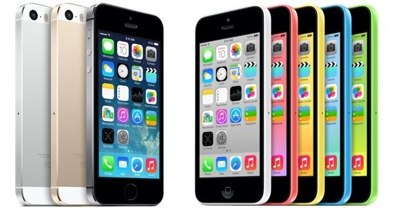 iPhone 5s with anodized aluminum and plastic backing in multiple colours