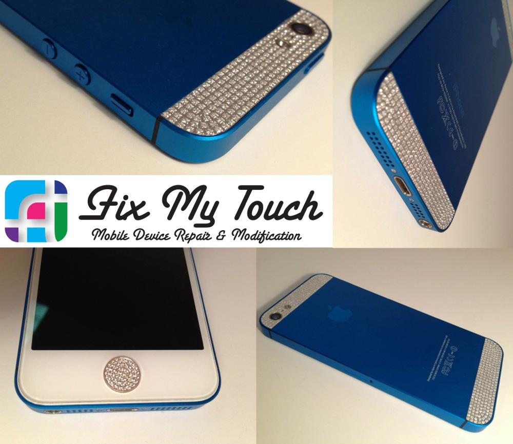 iPhone 5 repair and modification - Fix My Touch - Blue and white iPhone with crystal details