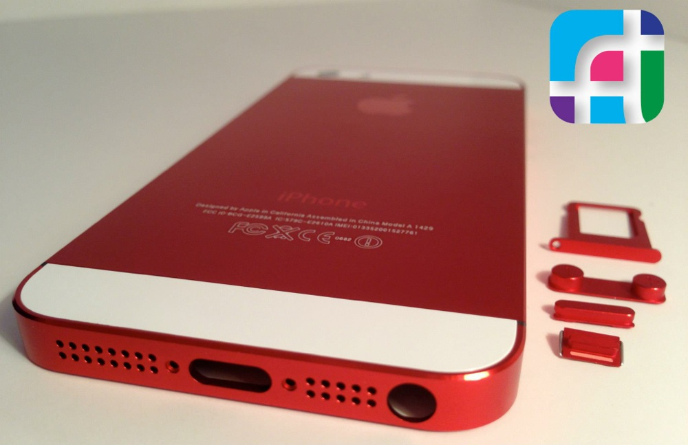iPhone 5 repair and modification - Fix My Touch - Ruby red iPhone 5 casing and buttons