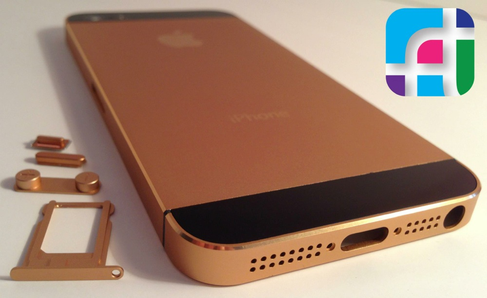 iPhone 5 repair and modification - Fix My Touch - rose gold iPhone 5 casing and buttons