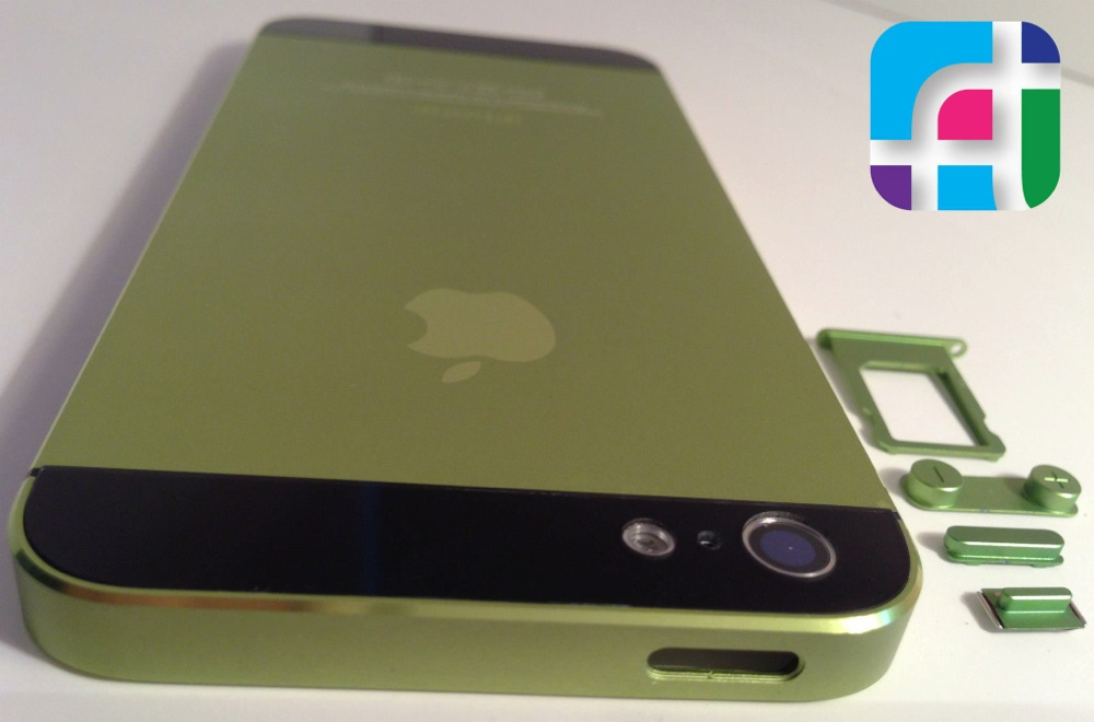 iPhone 5 repair and modification - Fix My Touch - custom green housing and buttons