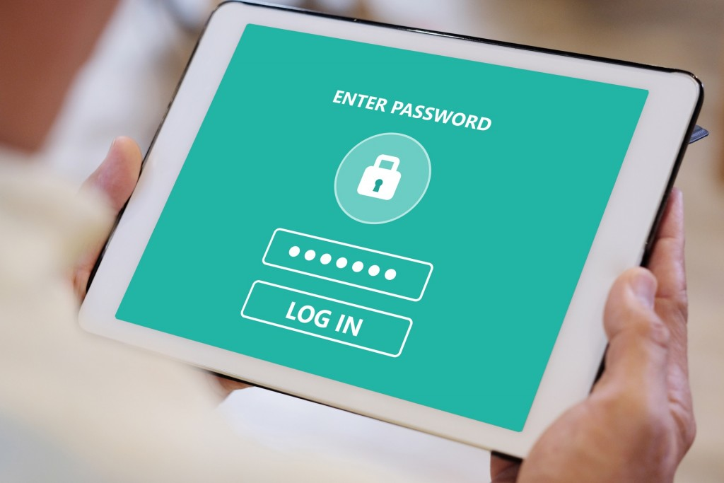 Tablet cybersecurity password screen